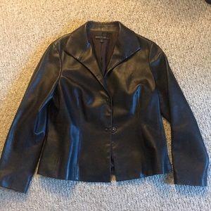 Beautiful chocolate brown leather jacket